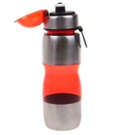 Láhev na pití s plastovým poutkem červená