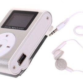 Mini MP3 přehrávač s displejem stříbrný
