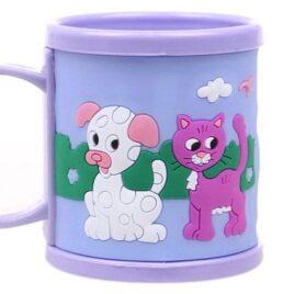 Hrnek dětský plastový (fialový s pejskem a kočičkou)