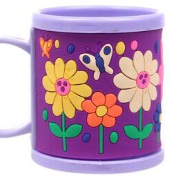 Hrnek dětský plastový (fialový s květy)