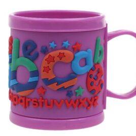 Hrnek dětský plastový (fialový abeceda)